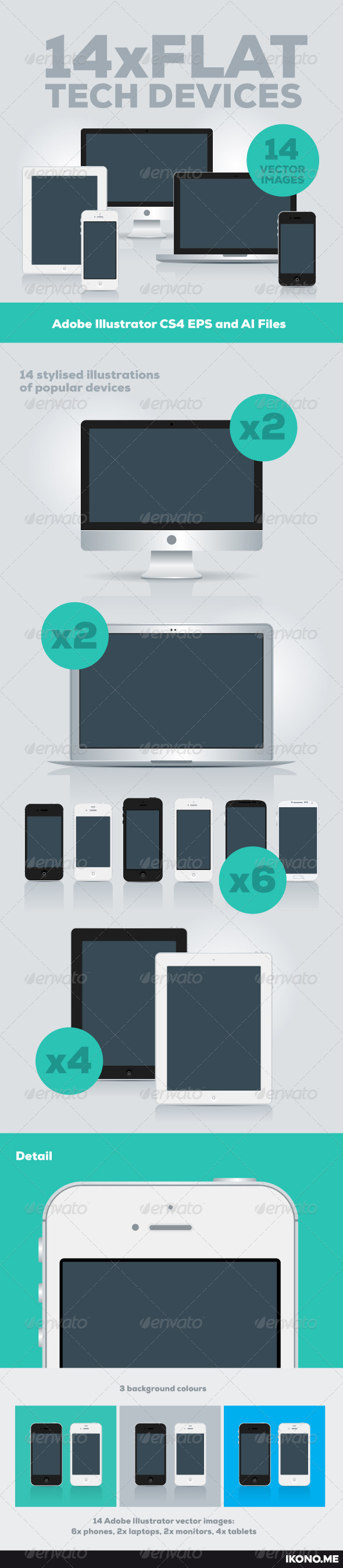 GraphicRiver 14 Flat Tech Devices 4603571