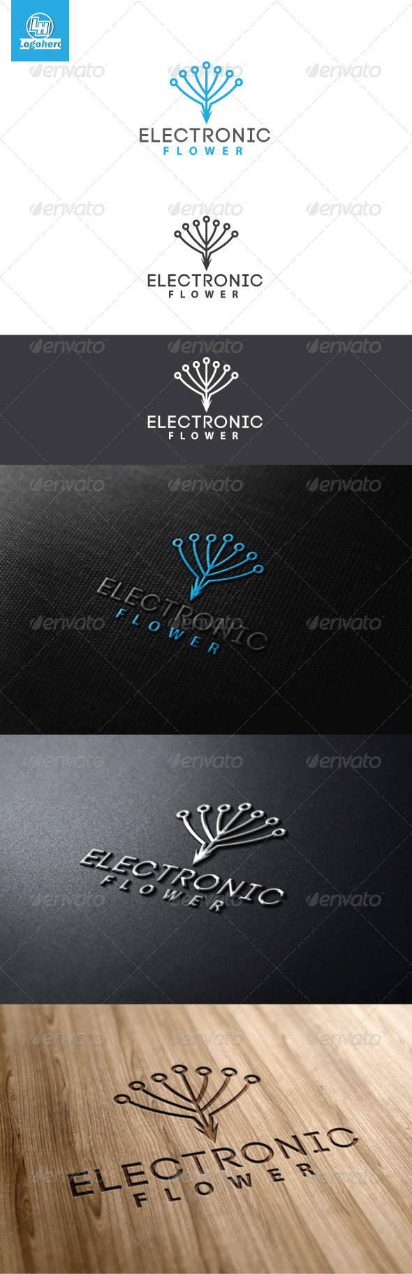 Electronic Flower Logo Template