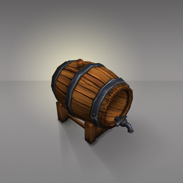 Wine Barrels Low Poly - 3DOcean Item for Sale