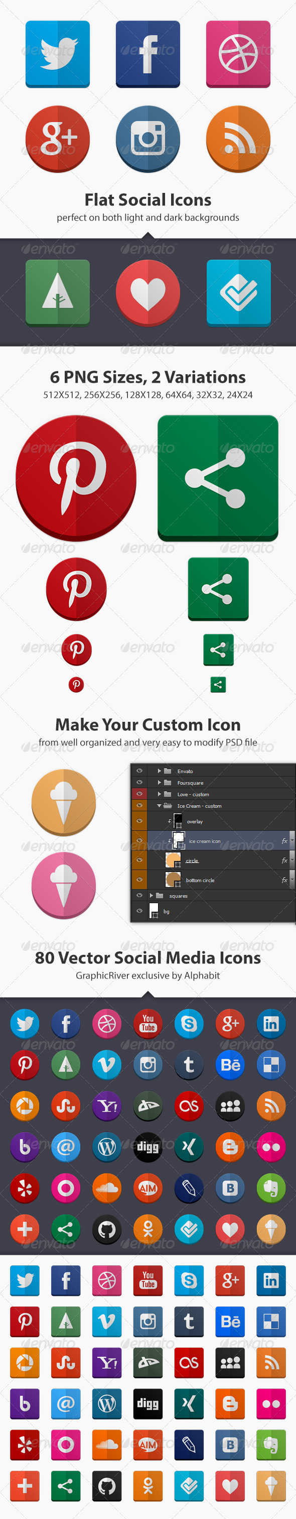 GraphicRiver 80 Flat Social Icons 4558834