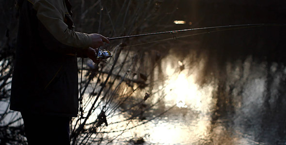 Spin Fishing And Sunshine Bokeh In River Water