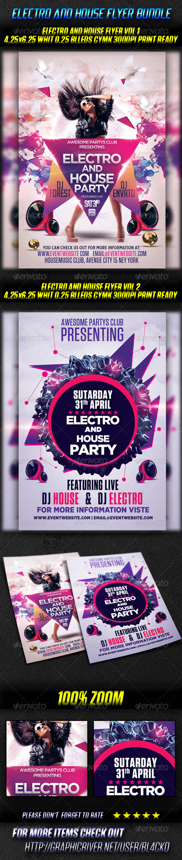 GraphicRiver Electro And House Flyer Bundle 4527013