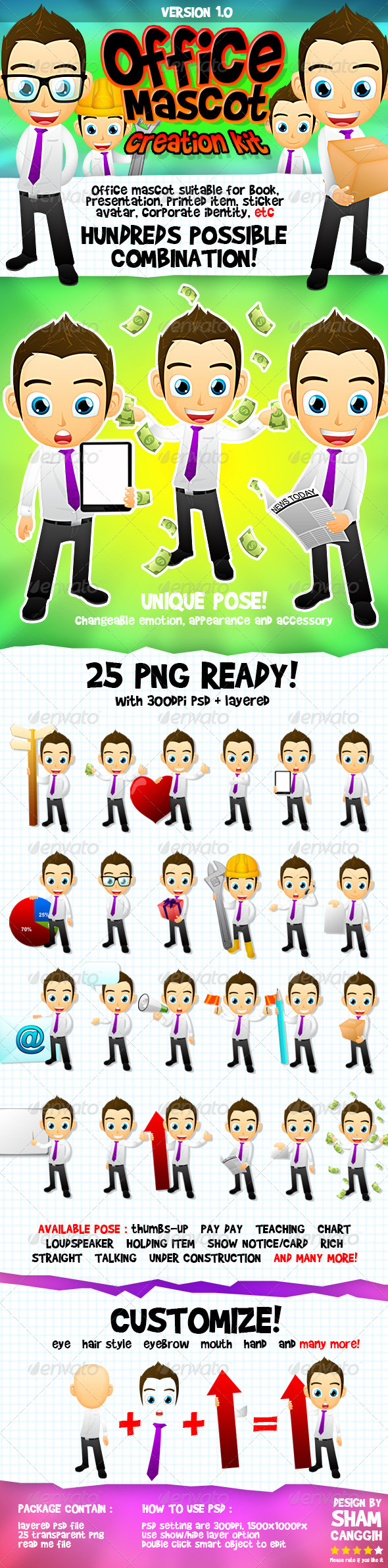 GraphicRiver Male Office And Business Mascot Part 2 4605128