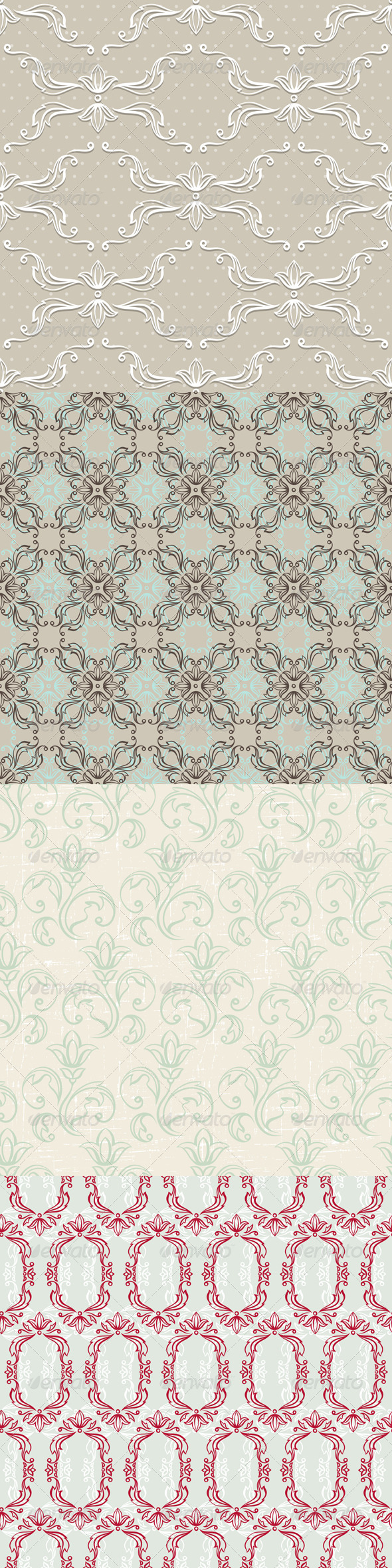 GraphicRiver Seamless Vintage Wallpapers Floral Patterns 4605231