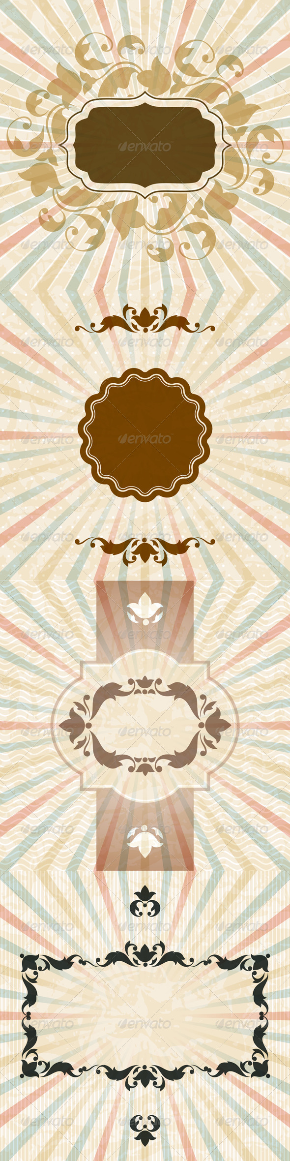 GraphicRiver Retro Backgrounds with Vintage Floral Frame 4605236