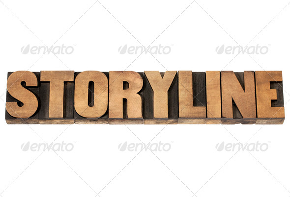 storyline in wood type - Stock Photo - Images