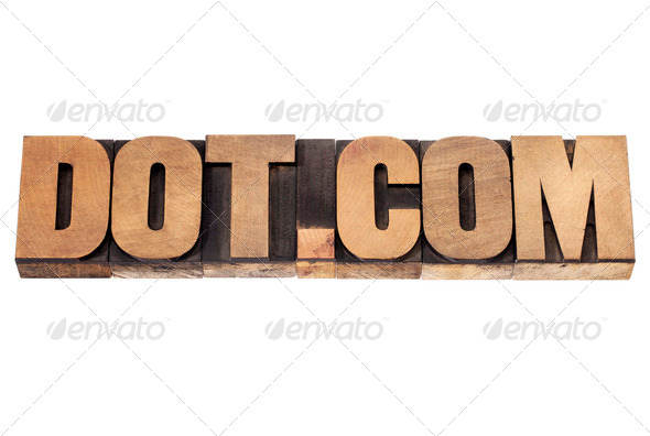 dot com concept in wood type - Stock Photo - Images
