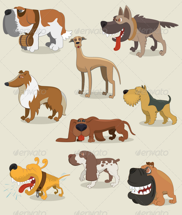 GraphicRiver Cartoon Dogs Collection 4605293