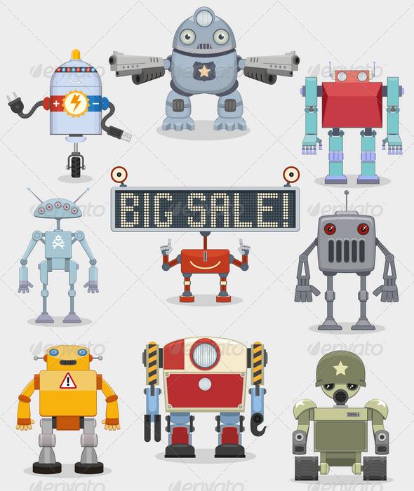 GraphicRiver Cartoon Robots Collection 4605305