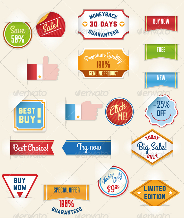 GraphicRiver Set of Retro Sale Stickers and Tags 4605313