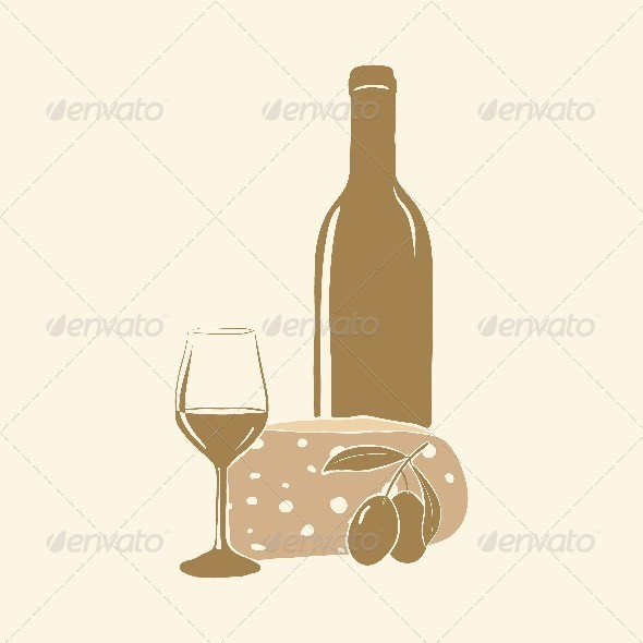 GraphicRiver Wine Cheese Olives and Glass 4605407