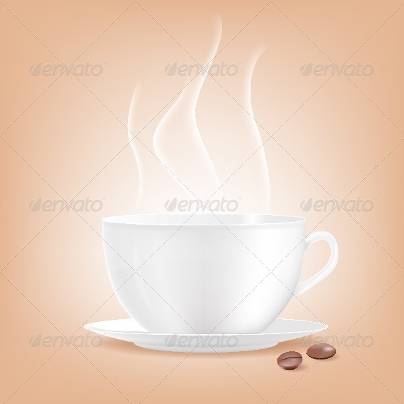 Smoking Coffee Cup with Two Grains of Coffee