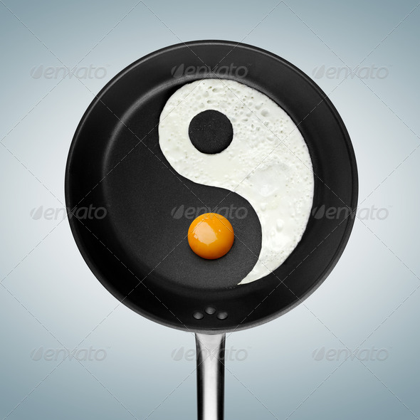A fried egg philosophy. - Stock Photo - Images