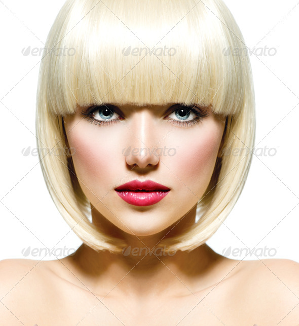 Fashion Stylish Beauty Portrait. Beautiful Girl's Face Close-up - Stock Photo - Images