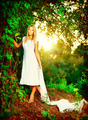 Beautiful girl in fairy forest near the river - PhotoDune Item for Sale