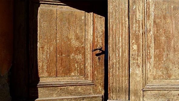 Old Wooden Door is Closing