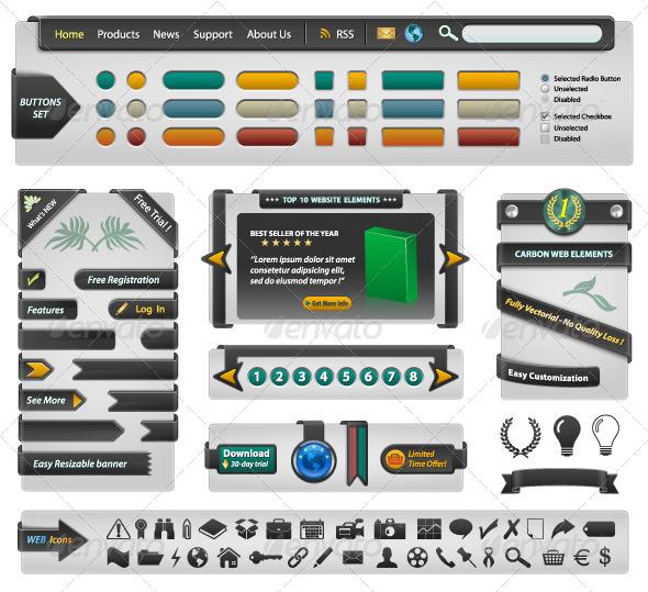 GraphicRiver Website Design Elements Carbon 4573552