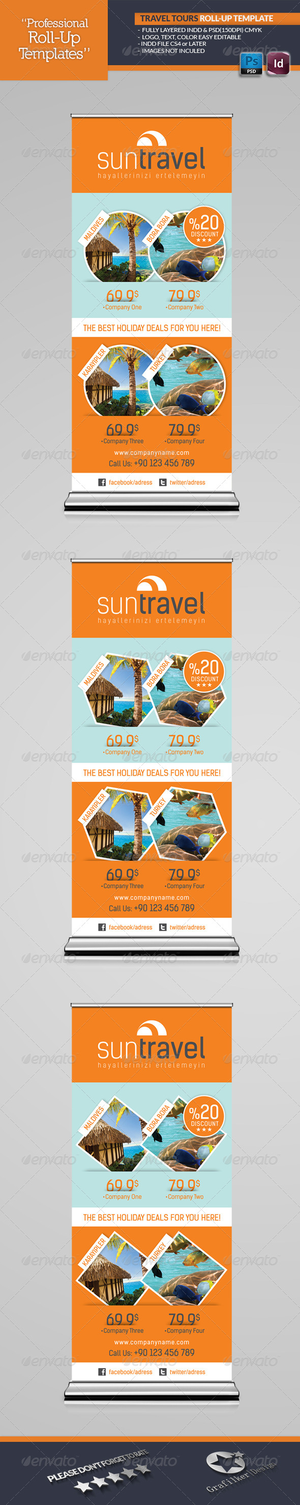 Travel Tours Roll-Up Template - Signage Print Templates