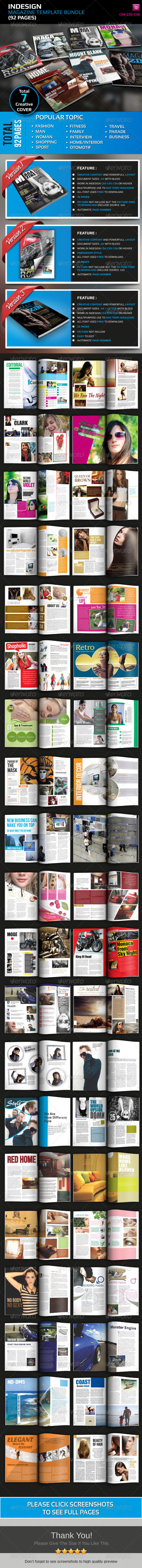 GraphicRiver Best Indesign Magazine Template Bundle 92 Pages 4529041
