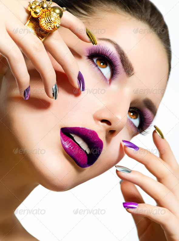 Fashion Beauty. Manicure and Make-up. Nail Art - Stock Photo - Images