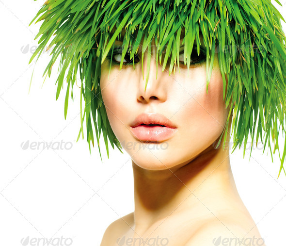 Beauty Spring Woman with Fresh Green Grass Hair. Summer Nature - Stock Photo - Images