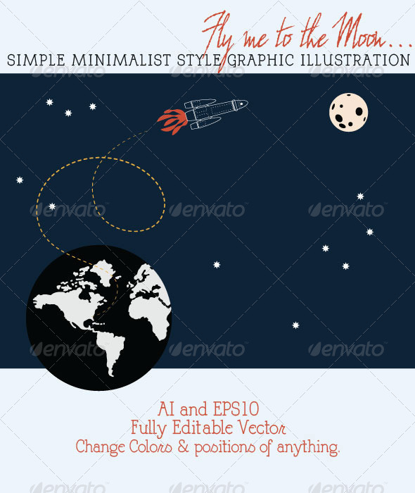 GraphicRiver Space Rocket Flying to the Moon from Earth 4607976