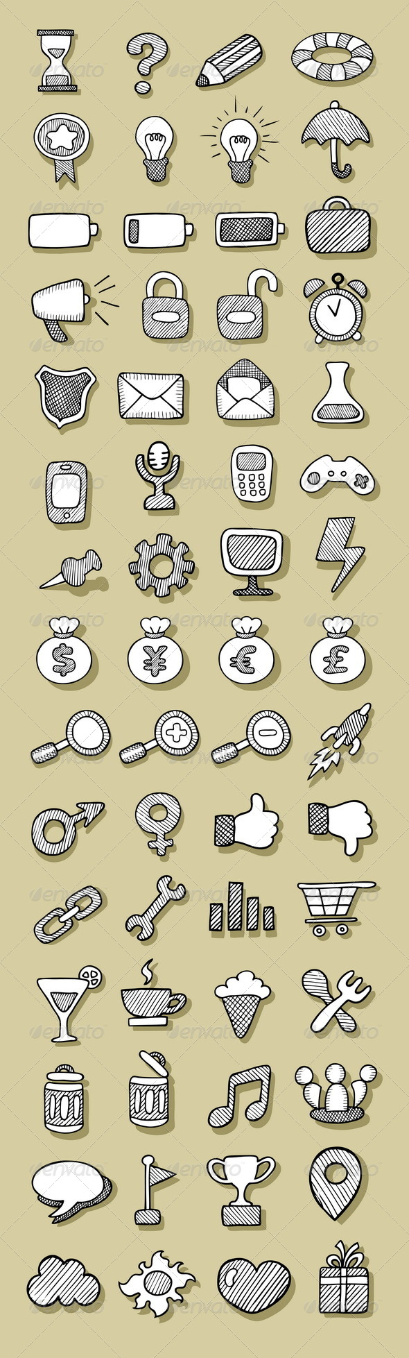 Icons Sketch - Web Elements Vectors