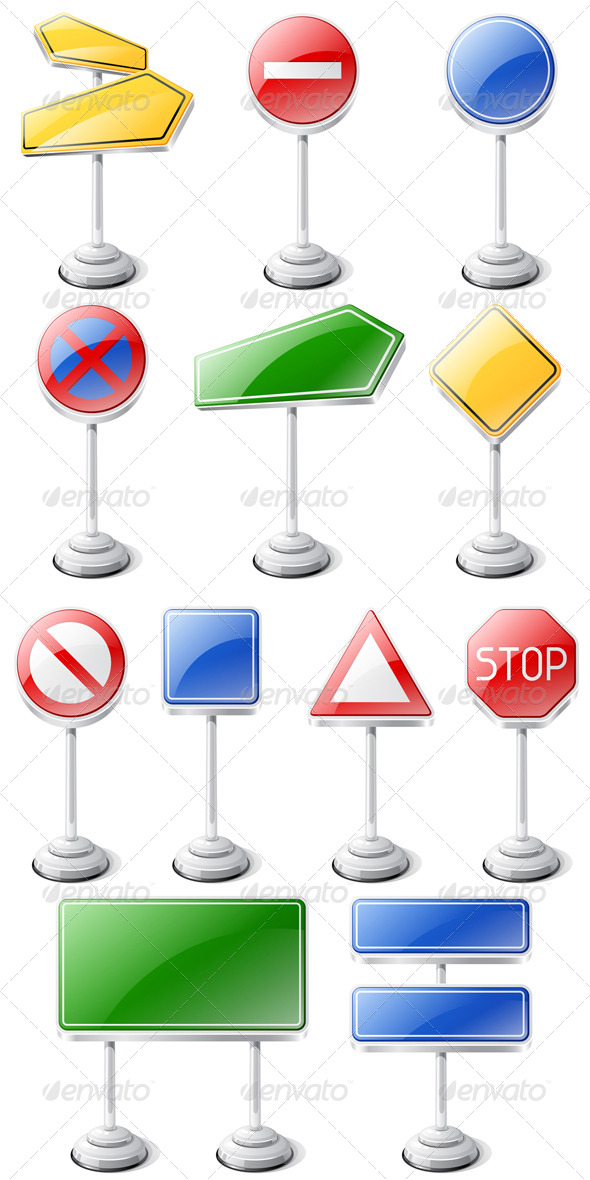 GraphicRiver Set of Road Traffic Signs Isolated on White 4610949