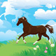 Country Side Landscape with Horses and Clouds - GraphicRiver Item for Sale