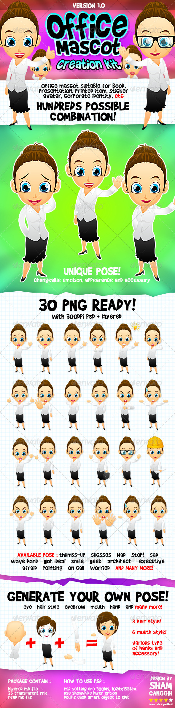 GraphicRiver Female Office And Business Mascot Part 1 4611123