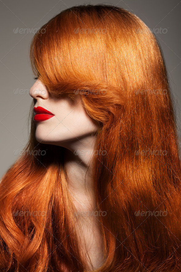 Beautiful Girl. Healthy Long Hair. - Stock Photo - Images