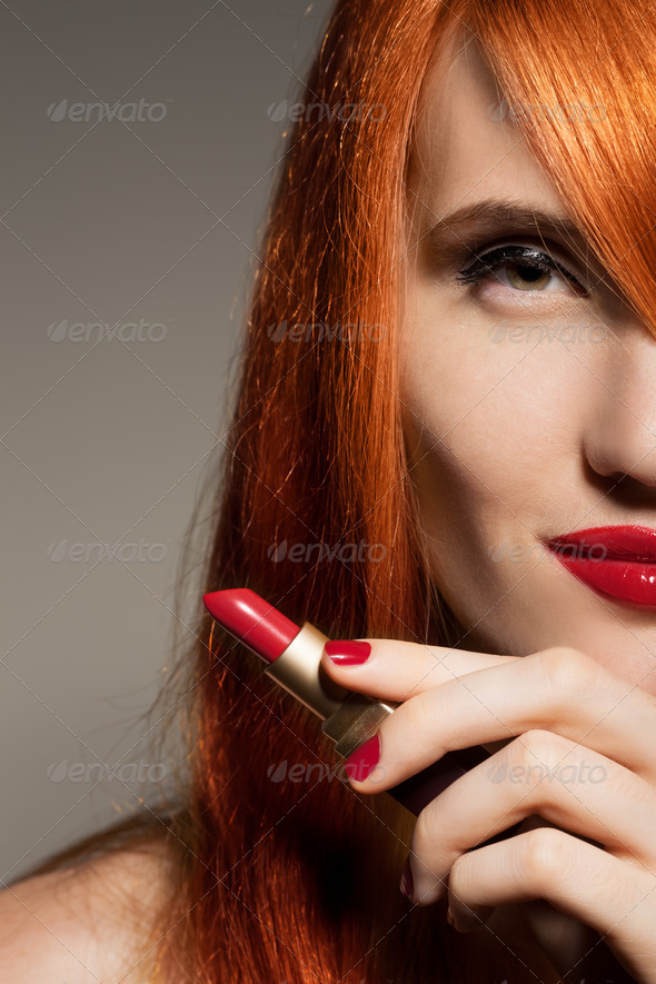 Beautiful Girl. Red Lipstick - Stock Photo - Images