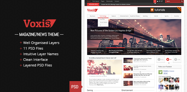 Voxis - Magazine / News PSD template