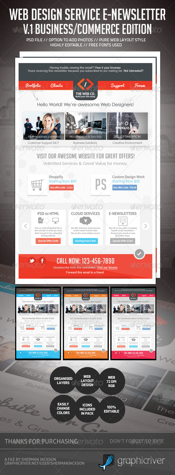 GraphicRiver Web Design Business Service E-Newsletter V.1 4611396