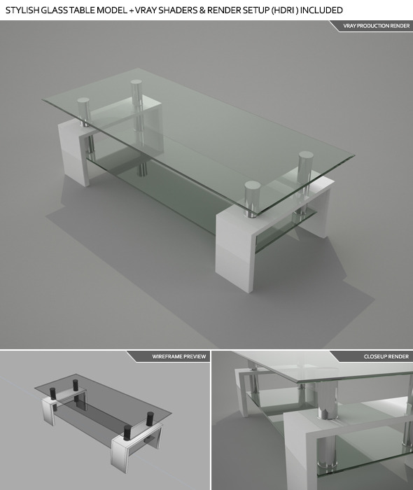 3DOcean Stylish Glass Table w Vray Shaders & Setup HDRI 4611645