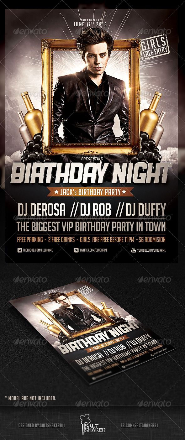 GraphicRiver Birthday Night Flyer Template 4612033