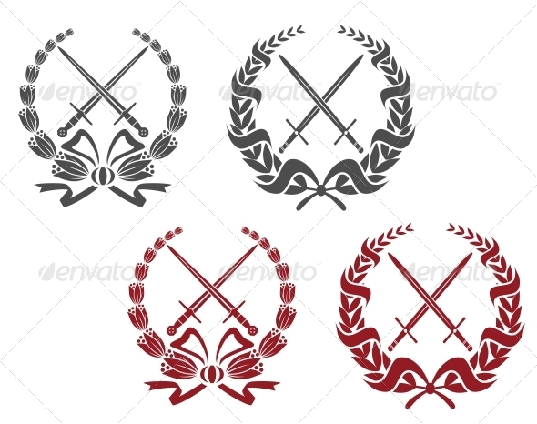 GraphicRiver Laurel Wreathes with Weapon Elements 4612437