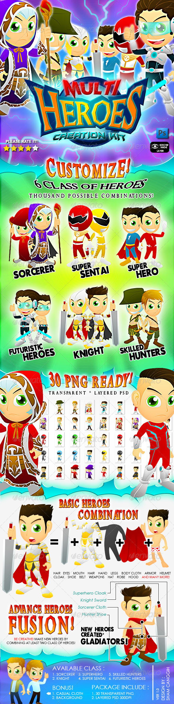 GraphicRiver Multi Heroes Mascot Creation Kit 4545143