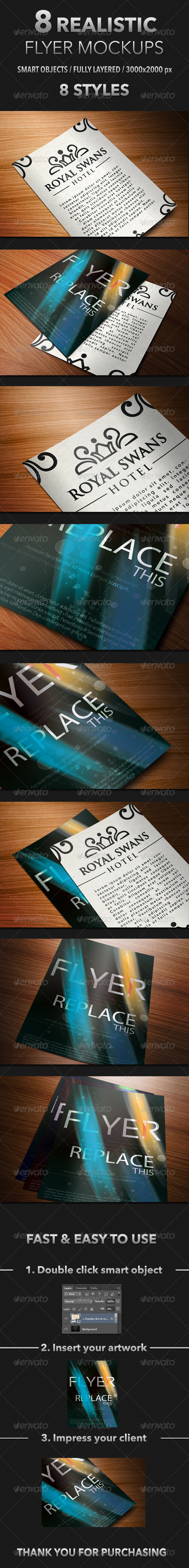 GraphicRiver 8 Realistic Flyer Mockups 4530965