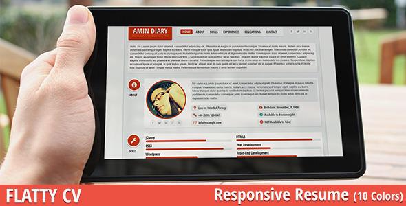 ThemeForest FLATTY CV Responsive Resume Template 4584030