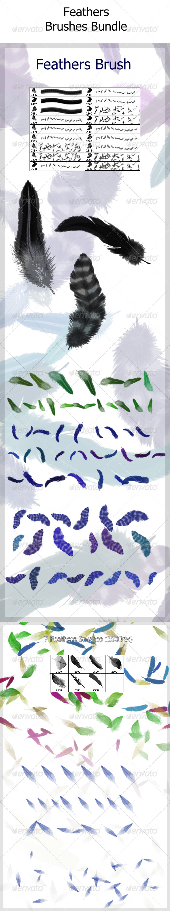 GraphicRiver Feathers Brushes Bundle 4613590