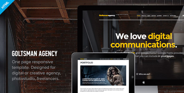 ThemeForest Goltsman Agency One Page Responsive Template 4613654