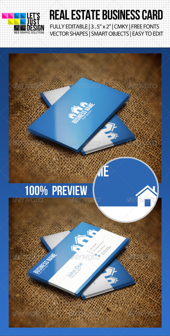 GraphicRiver Clean Real Estate Business Card 4543290
