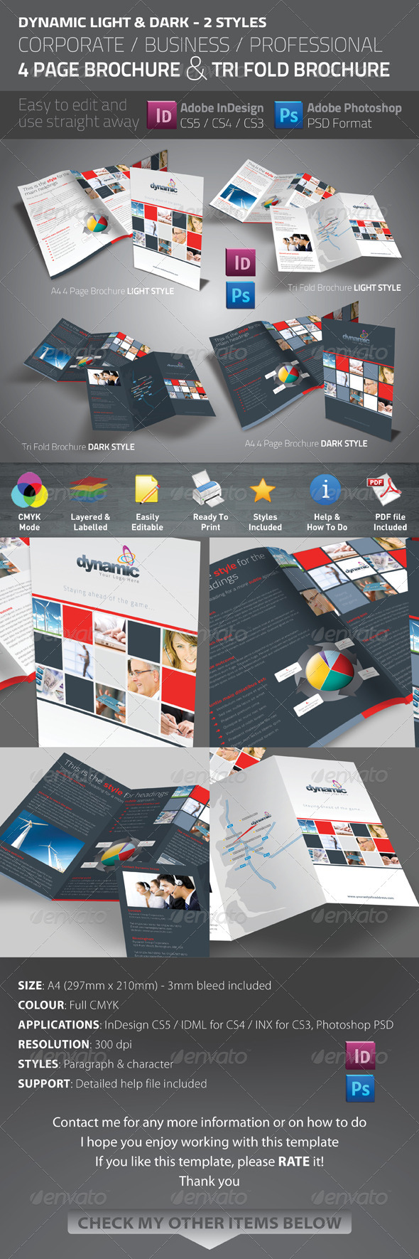 Dynamic 4 Page Brochure & Tri Fold - Corporate Brochures