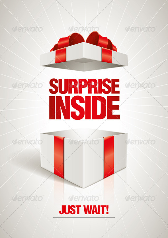 Vector surprise inside open gift box design template. Elements are ...