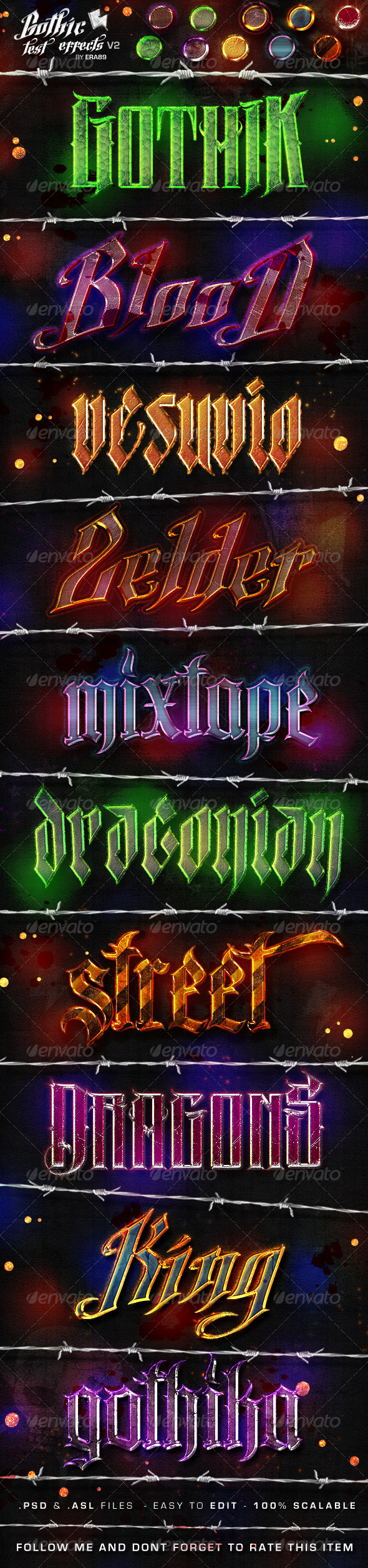 GraphicRiver Gothic Text Effects v2 Photoshop Styles 4615374