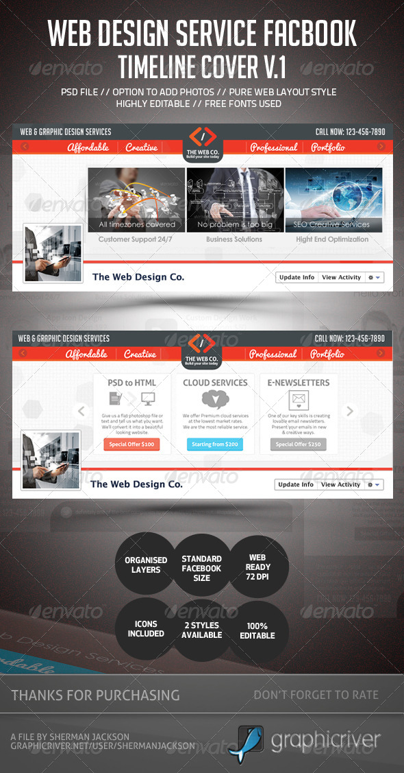 GraphicRiver Web Design Service Facebook Timeline Cover 4615429