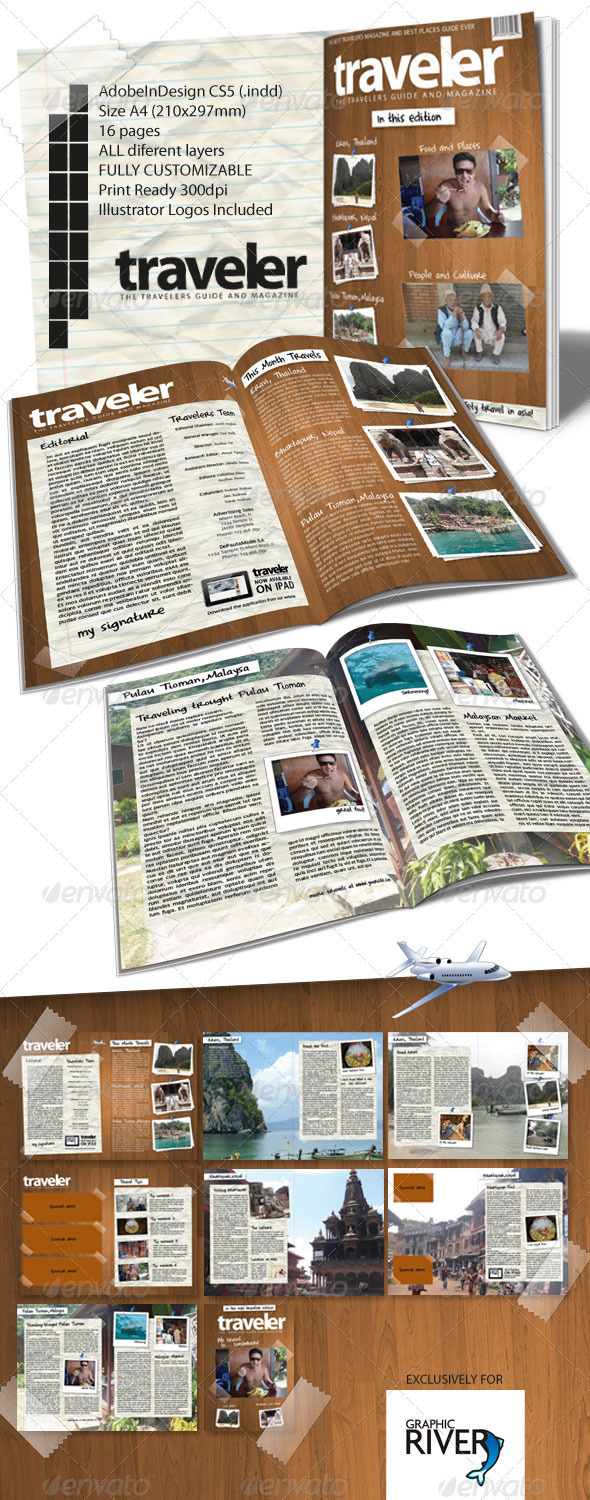 Traveler Magazine Indesign Template - Magazines Print Templates