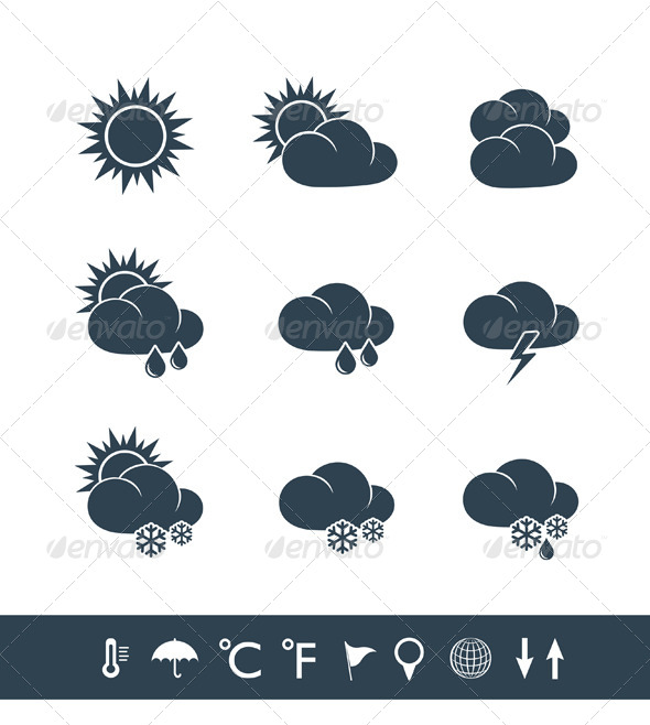 GraphicRiver Weather Icons Black and White 4615900