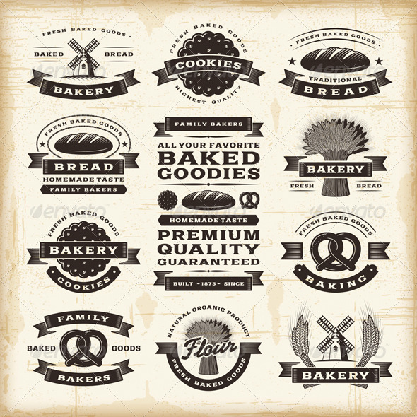 GraphicRiver Vintage Bakery Labels Set 4616358